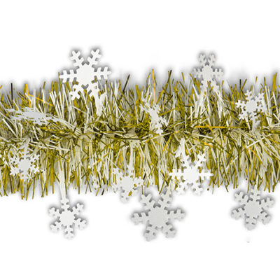 tira de navidad con copos blanco plata - Guirnaldas De Navidad